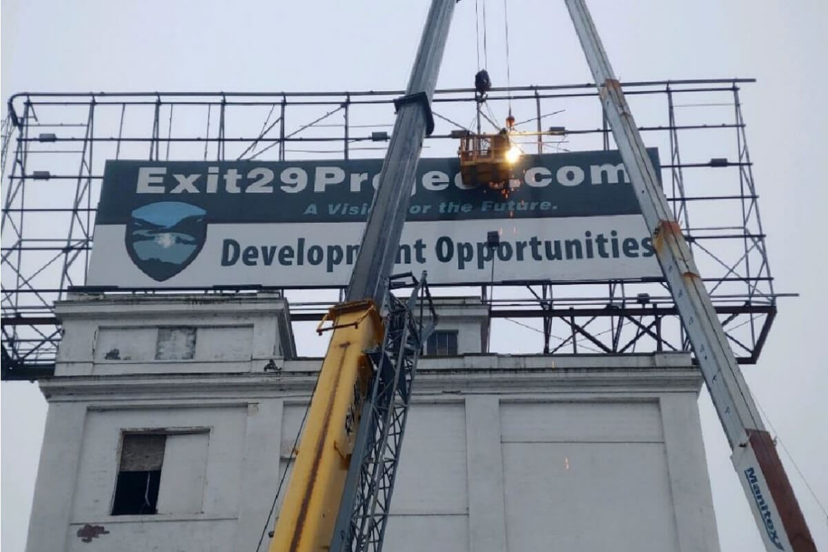 Exit 29 Project Billboard Installation at former Beechnut plant in Canajoharie